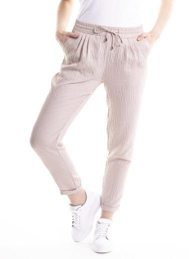 Stamina Bağcıklı Çizgili Pantolon Bej